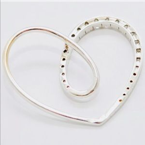 Jewelry - 18k White Gold Diamonique Large Open Heart Pendant
